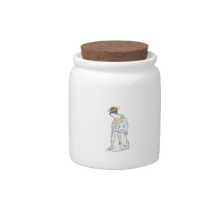 JAPANESE WOMAN LARGE OPEN CANDY JARS