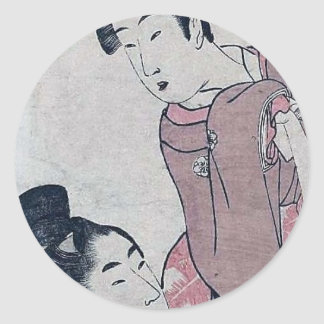 Japanese woman poster classic round sticker