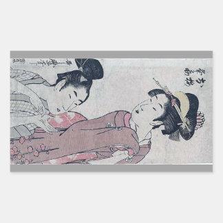 Japanese woman poster rectangular sticker