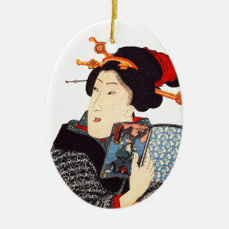 Japanese Woman Reading 2 Ceramic Ornament