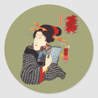 Japanese Woman Reading 2 Classic Round Sticker