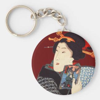 Japanese Woman Reading 2 Key Chain