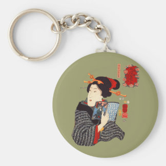 Japanese Woman Reading 2 Keychain