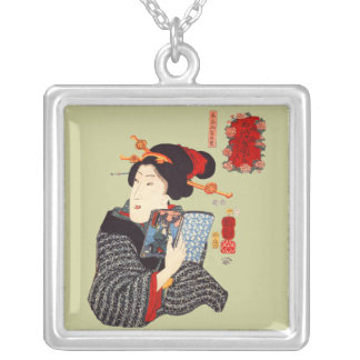 Japanese Woman Reading 2 Pendants