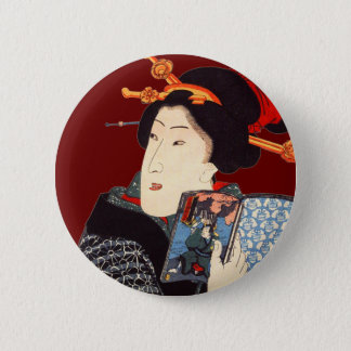 Japanese Woman Reading 2 Pinback Button