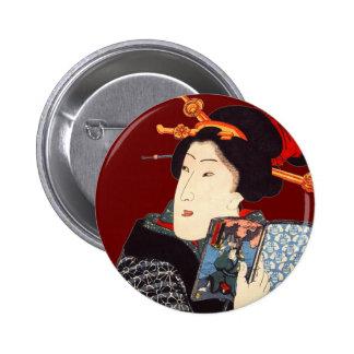 Japanese Woman Reading 2 Pinback Button