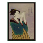 Japanese Woman Reading Letter Poster