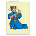 Japanese Woman With Cat  Card - Customizable