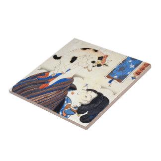 Japanese Woman with Cat, Utagawa Kuniyoshi Ceramic Tile