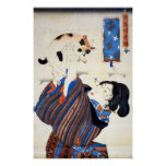 Japanese Woman with Cat, Utagawa Kuniyoshi Poster