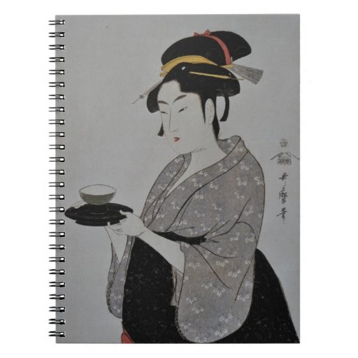 Japanese Woman with Tea Spiral Note Books