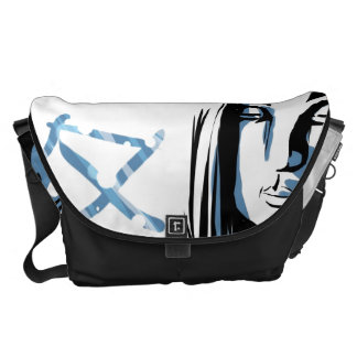 Japanese woman with winter kanji courier bag