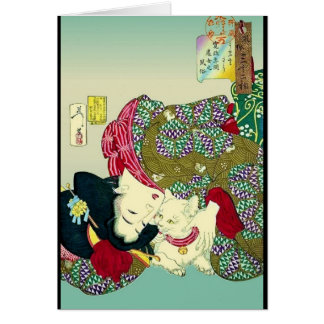 Japanese Women and Cat Card