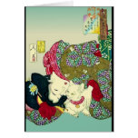 Japanese Women and Cat Greeting Card