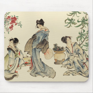 Japanese women in traditional garments mouse pad