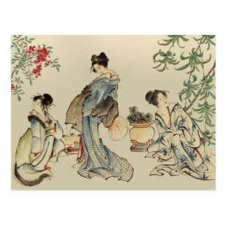 Japanese women in traditional garments postcard