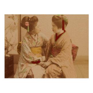 Japanese women tete-a-tete postcard