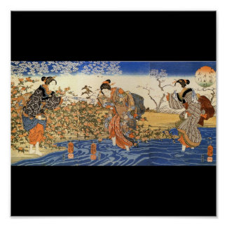 Japanese Women walking in the Water c. 1800's Poster