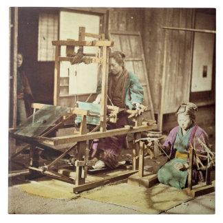 Japanese women weaving, c.1890 (hand-coloured phot tile
