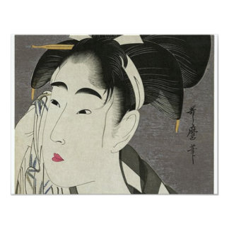 Japanese Women wiping her face 4.25x5.5 Paper Invitation Card