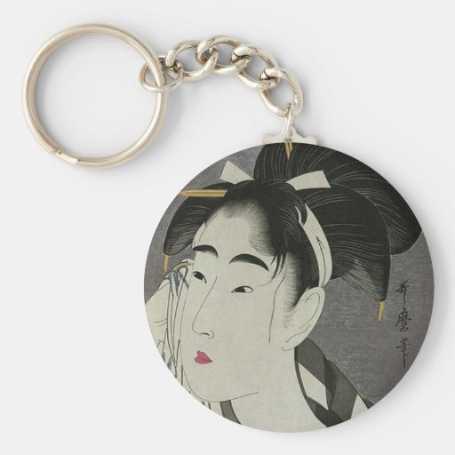 Japanese Women wiping her face Key Chain