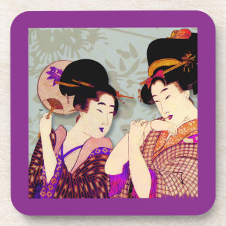 Japanese Women With Fans Design Coaster