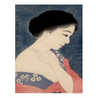 Japanese Woodblock Art Applying Makeup Postcard