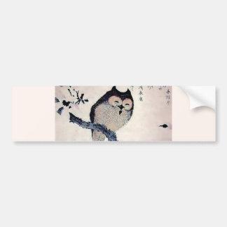 Japanese Woodblock Art Owl Print Car Bumper Sticker