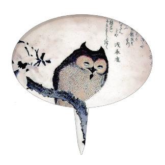 Japanese Woodblock Art Owl Print Cake Pick