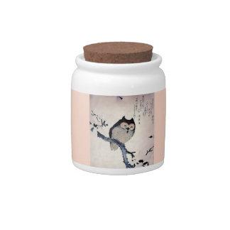 Japanese Woodblock Art Owl Print Candy Dish