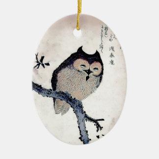 Japanese Woodblock Art Owl Print Ceramic Ornament