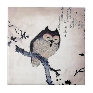 Japanese Woodblock Art Owl Print Ceramic Tile
