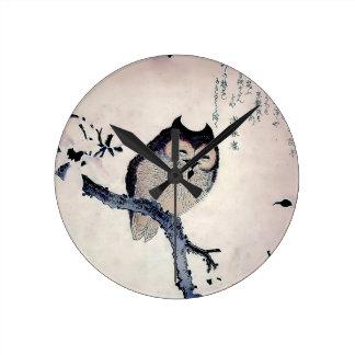 Japanese Woodblock Art Owl Print Clock