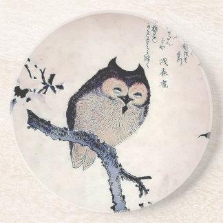 Japanese Woodblock Art Owl Print Drink Coasters