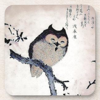 Japanese Woodblock Art Owl Print Beverage Coasters