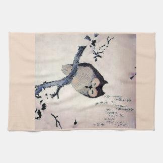 Japanese Woodblock Art Owl Print Hand Towel