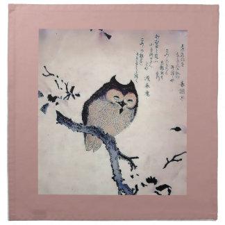 Japanese Woodblock Art Owl Print Cloth Napkins