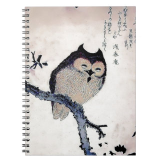 Japanese Woodblock Art Owl Print Spiral Note Books