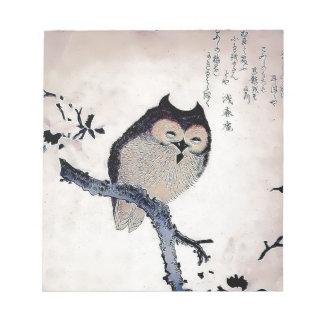 Japanese Woodblock Art Owl Print Memo Pads