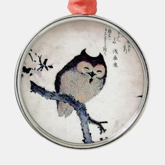 Japanese Woodblock Art Owl Print Christmas Ornaments