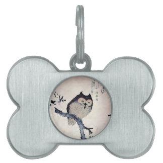 Japanese Woodblock Art Owl Print Pet ID Tags
