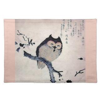 Japanese Woodblock Art Owl Print Place Mat
