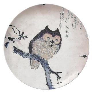 Japanese Woodblock Art Owl Print Dinner Plates