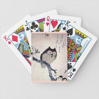 Japanese Woodblock Art Owl Print Playing Cards