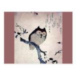 Japanese Woodblock Art Owl Print Postcard at Zazzle