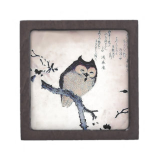 Japanese Woodblock Art Owl Print Premium Jewelry Boxes