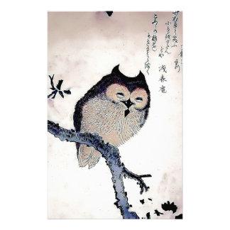 Japanese Woodblock Art Owl Print Customized Stationery