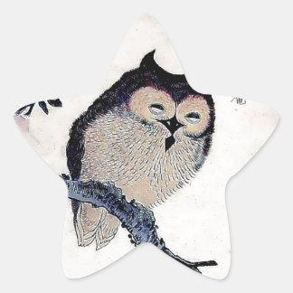 Japanese Woodblock Art Owl Print Star Stickers
