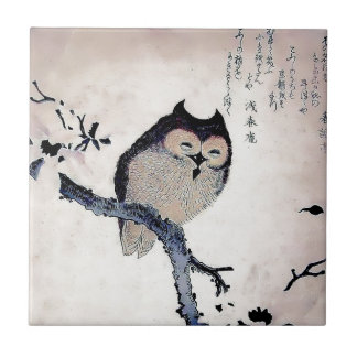 Japanese Woodblock Art Owl Print Ceramic Tiles