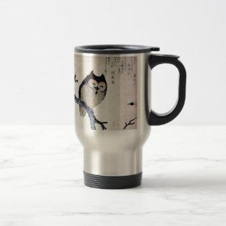 Japanese Woodblock Art Owl Print Travel Mug